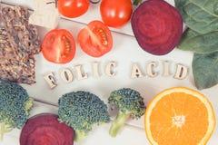 Rocznik fotografia, Zdrowy odżywczy jedzenie jako źródło folic kwas, kopaliny, witamina B9 i żywienioniowy włókno, fotografia royalty free