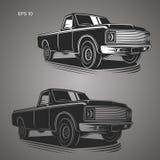 Rocznik furgonetki wektoru ilustracja Oldschool amerykanina samochód Zdjęcie Stock