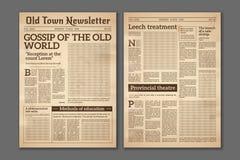 Rocznik gazeta Artykułu prasowego newsprint magazynu stary projekt Broszurki gazety strony Papierowy retro czasopismo wektor royalty ilustracja