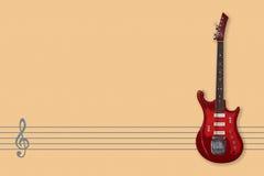 Rocznik gitara elektryczna, muzyka personel i Clef, obraz stock