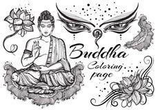 Rocznik graficzny Buddha ustawiający z buddyjskimi świętymi elementami Religijny pojęcie Wysokiej jakości wektorowa sztuka odizol ilustracja wektor
