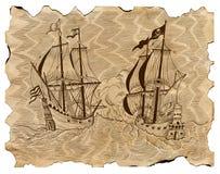 Rocznik grawerował ilustrację piratów statki w dennej bitwie na starym pergaminie Zdjęcie Royalty Free