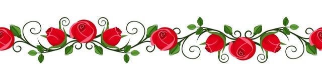 Rocznik horyzontalna bezszwowa winieta z czerwieni różą pączkuje. royalty ilustracja