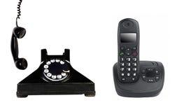Rocznik i nowożytny telefon obraz stock