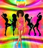 Rocznik i retro dyskoteka tanczymy scenę z silouettes nasz unikalna cyfrowa sztuki dyskoteki królowa royalty ilustracja