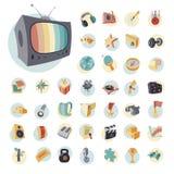 Rocznik ikony ustawiać dla rozrywki Obrazy Stock