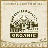 Rocznik ilości Organicznie Gwarantowana etykietka ilustracja wektor