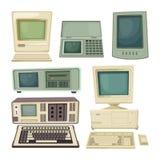 Rocznik ilustracje komputery stacjonarni i inni różni techników gadżety royalty ilustracja