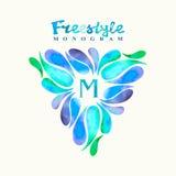 Rocznik inspirujący akwarela stylu wolnego monograma ramy szablon Zdjęcie Royalty Free