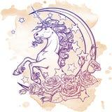 Rocznik jednorożec z półksiężyc róż i gwiazd kartka z pozdrowieniami Obraz Royalty Free