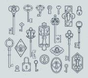 Rocznik kłódki dla średniowiecznych drzwi i klucze Ręki rysować wektorowe ilustracje royalty ilustracja