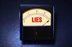 Rocznik kłamcy metr pokazuje nieuczciwość poziomy zdjęcie stock