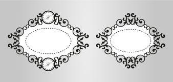 Rocznik kaligrafii dekoracyjny tło, wektorowy retro antykwarski pusty królewski barok granicy ramy set Obrazy Stock