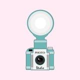 Rocznik kamera z błyskiem royalty ilustracja