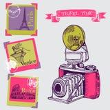 Rocznik kamera z Europa architekturą ilustracji