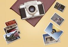 Rocznik kamera z fotografii krajobrazowymi ramami obrazy royalty free