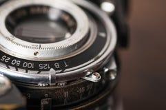 Rocznik kamery obiektywu zakończenie zdjęcie royalty free