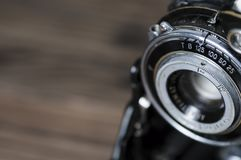 Rocznik kamery obiektywu zakończenie Fotografia Royalty Free