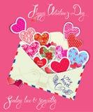 Rocznik karta z kopertą, różni kolory p i ornamenty, Obrazy Stock