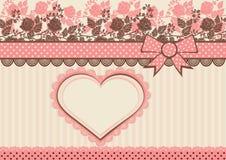 Rocznik karta z kropkowaną taśmą i kwiatami Obraz Royalty Free