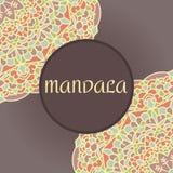 Rocznik karta z mandala ornamentem i wzorem Fotografia Royalty Free