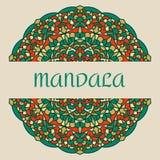 Rocznik karta z mandala ornamentem i wzorem Obrazy Stock