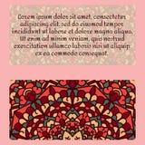 Rocznik karta z mandala ornamentem i wzorem Fotografia Stock