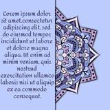 Rocznik karta z mandala ornamentem i wzorem Obrazy Royalty Free