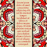 Rocznik karta z mandala ornamentem i wzorem Zdjęcia Stock