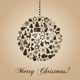 Rocznik kartka bożonarodzeniowa Fotografia Royalty Free