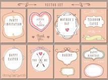 Rocznik karty set Doodle ręki wystroju rysunkowy set Obraz Stock