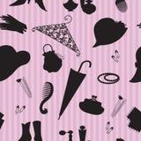 Rocznik kobiety akcesoriów bezszwowy wzór ilustracja wektor
