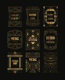 Rocznik kolekcja złote art deco ramy Luksusowi wektorowi emblematy dla biznesowego loga, partyjnej zaproszenie karty, lub Zdjęcie Royalty Free