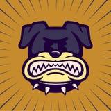 Rocznik kreskówki buldoga charakteru plątania gniewnego psa szlifierscy zęby ilustracja wektor