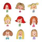 Rocznik kreskówki dziewczyny z różnorodnymi włosianymi stylami Obrazy Stock
