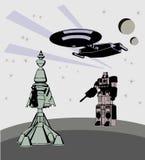 Rocznik księżyc przestrzeni sceny wektor royalty ilustracja