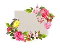 Rocznik kwiecista karta dla poślubiać, walentynka projekt Kwiaty, róże, jagody, roczników serca, ptak Akwareli rama dla Obrazy Stock