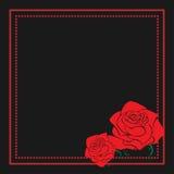 Rocznik kwiecista rama z róży sylwetką Czerwony i czarny wektorowy projekta element dla reklam, ulotka, sieć, ślub, invitatio royalty ilustracja