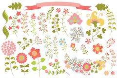 Rocznik kwitnie elemments ustawiających Kwiaty, gałąź, Obraz Stock