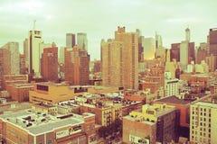 Rocznik linia horyzontu Miasto Nowy Jork, Manhattan -, Nowy Jork usa - obrazy stock