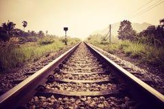 Rocznik linia kolejowa Obraz Stock