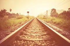Rocznik linia kolejowa Obrazy Royalty Free