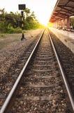 Rocznik linii kolejowej pociąg Fotografia Royalty Free