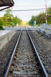 Rocznik linii kolejowej pociąg Obrazy Royalty Free
