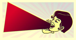 Rocznik młoda dziewczyna głośna wrzeszczący out opóźnioną wiadomość ilustracji
