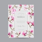 Rocznik magnolii Kwiecista rama dla zaproszenia Zdjęcia Royalty Free