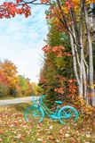 Rocznik malujący bicykl w jesieni zdjęcia royalty free