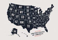 Rocznik mapa Stany Zjednoczone Ameryka 50 stanów ilustracja wektor