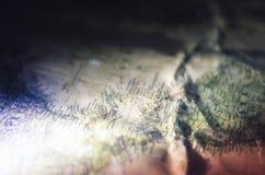 Rocznik mapy zakończenia zapraszająca eksploracja obrazy royalty free