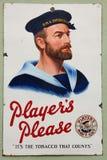 Rocznik marynarki wojennej Rżnięty Tabaczny ogłoszenie zdjęcia stock